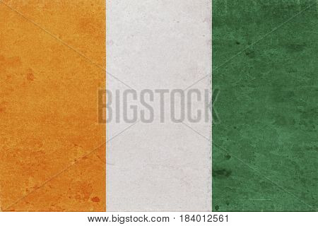 Illustration of the national flag of Cote d'Ivoire with a grunge look