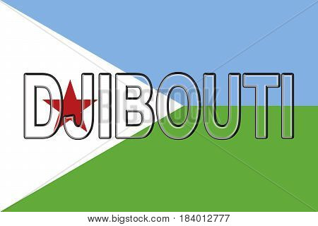 Illustration of the national flag of Djibouti with the country written on the flag.