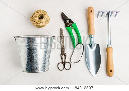 Garden tools for planting on white background