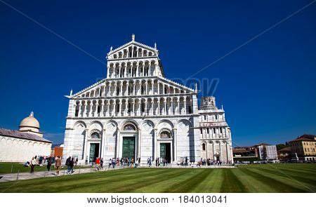 Pisa, Piazza dei miracoli, with the Basilica and the leaning tower