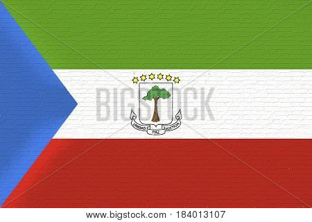 Illustration of the national flag of Equatorial Guinea looking like it has been painted onto a wall.