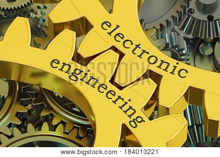 Electronic Engineering concept on the gears 3D rendering