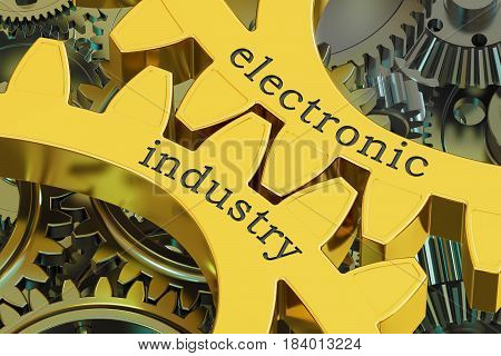 Electronic Industry concept on the gears 3D rendering