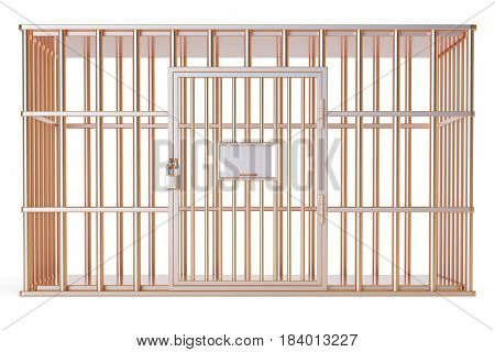empty golden cage prison cell. 3D rendering isolated on white background