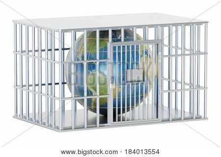 Steel cage prison cell with Earth globe. 3D rendering isolated on white background