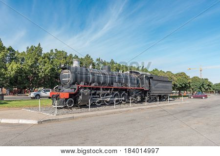 ASHTON SOUTH AFRICA - MARCH 26 2017: A class CRB steam engine at Platform 62 a road stall in Ashton a town on the scenic Route 62 in the Western Cape Province