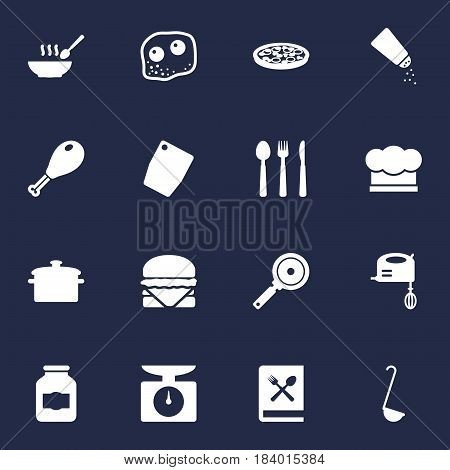 Set Of 16 Cooking Icons Set.Collection Of Silverware, Blender, Pepperoni And Other Elements.