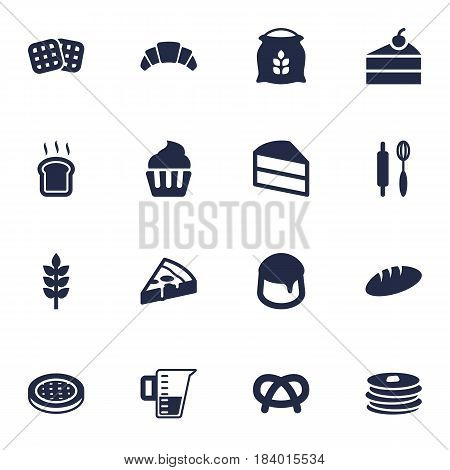 Set Of 16 Stove Icons Set.Collection Of Dessert, Sack, Measurement And Other Elements.