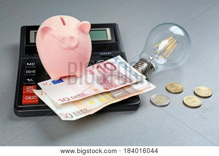 Saving electric power concept. Ceramic piggy bank with calculator and money on grey background