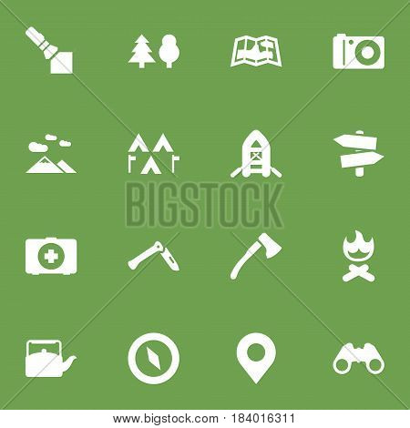 Set Of 16 Outdoor Icons Set.Collection Of Flashlight, Camp, Signpost And Other Elements.