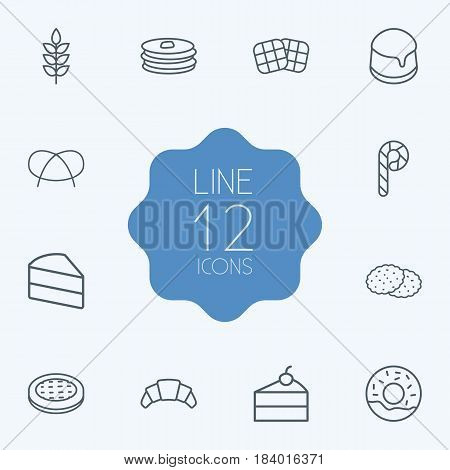 Set Of 12  Outline Icons Set.Collection Of Waffle, Croissant, Pancakes And Other Elements.