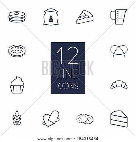 Set Of 12  Outline Icons Set.Collection Of Croissant, Apple Pie, Measuring Cup And Other Elements.