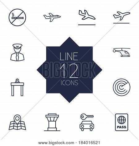 Set Of 12 Land Outline Icons Set.Collection Of Helicopter, Flight, Detection And Other Elements.