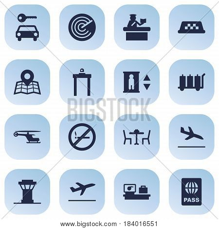 Set Of 16 Aircraft Icons Set.Collection Of Lift, Leaving, Carriage And Other Elements.