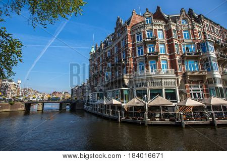 Streets and canals of Central Amsterdam, the Netherlands.