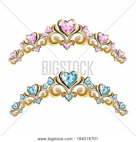 Vintage jewelry diadems set. Colored Vector illustration.