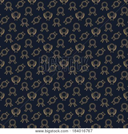 Golden winner badge or victory prizes seamless pattern. Vector illustration
