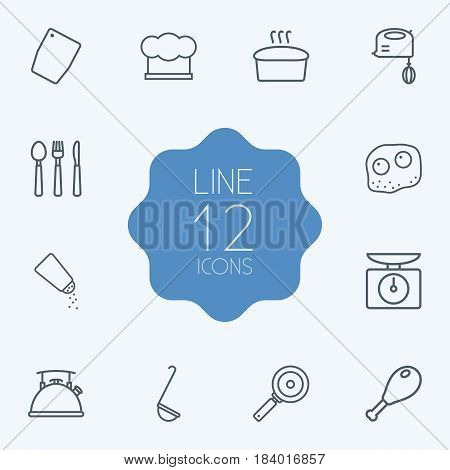 Set Of 12 Cooking Outline Icons Set.Collection Of Chicken Leg, Skillet, Chopping Board And Other Elements.
