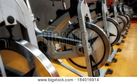 Indoor empty stationary bikes for spinning classes