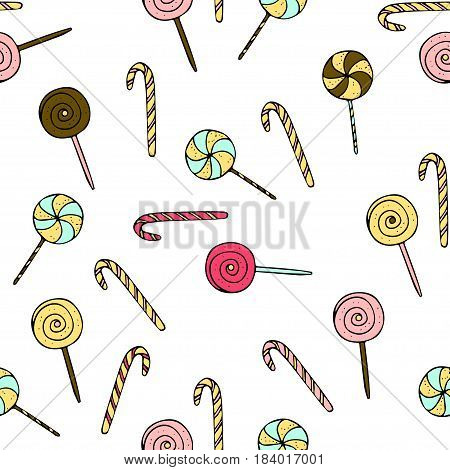 Seamless vector pattern with doodle hand drawn lollipops. Color illustration of cute desserts.