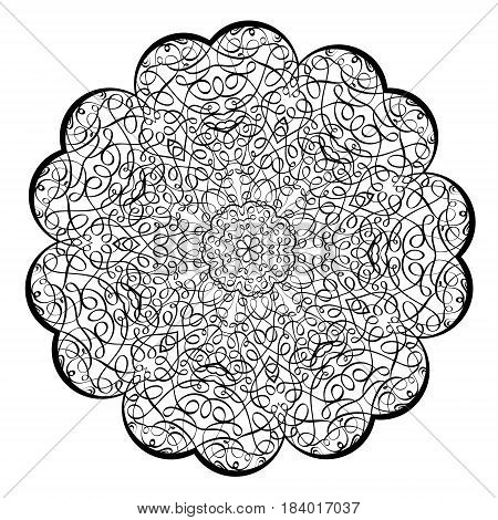Adult Coloring Book Illustrationlacy Mandala Pattern With Calligraphic Swirls And Intricate Tangled