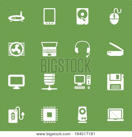 Set Of 16 Computer Icons Set.Collection Of Router, Photocopy, Palmtop And Other Elements.