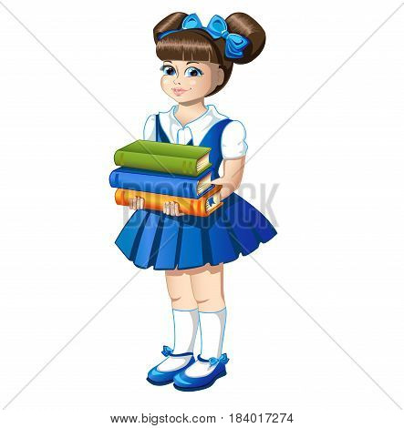 Little schoolgirl with a stack of book. Colored Vector illustration.