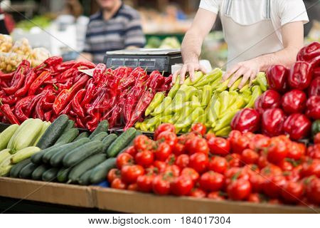 Healthy stall with fresh vegetable at street market
