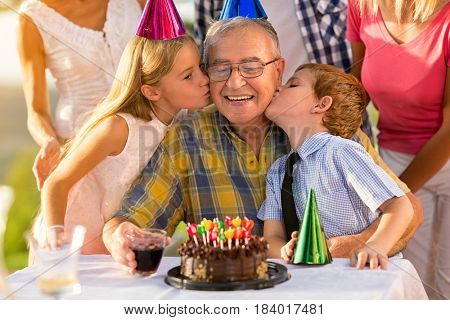 birthday party for grandfather with children