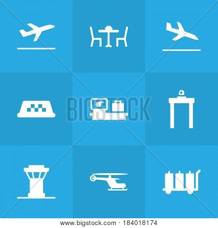 Set Of 9 Airplane Icons Set.Collection Of Air Traffic Controller, Metal Detector, Carriage And Other Elements.