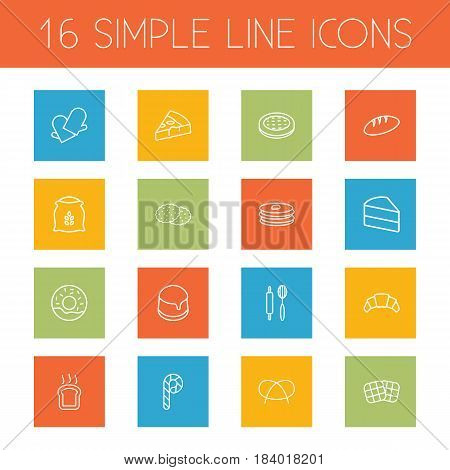 Set Of 16 Bakery Outline Icons Set.Collection Of Cookie, Cake, Toast And Other Elements.