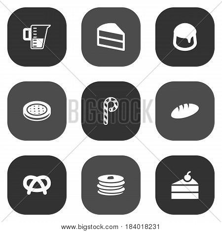 Set Of 9 Bakery Icons Set.Collection Of Custard, Crepe, Sweetmeat And Other Elements.