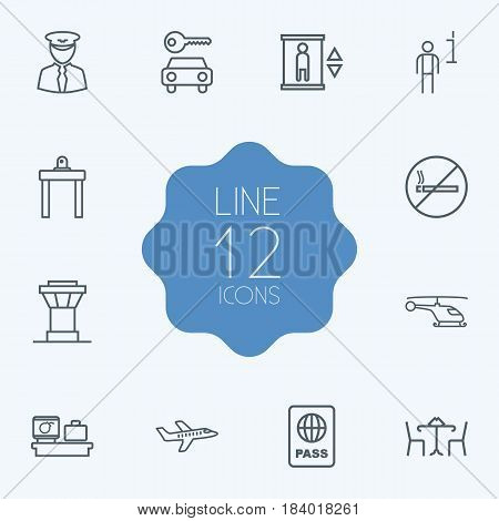 Set Of 12 Land Outline Icons Set.Collection Of Plane, Elevator, No Smoking And Other Elements.