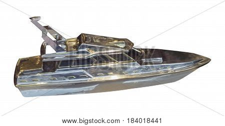 silver souvenir boat isolated on white background