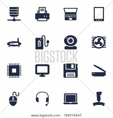 Set Of 16 Laptop Icons Set.Collection Of Supply, Record, Microprocessor And Other Elements.