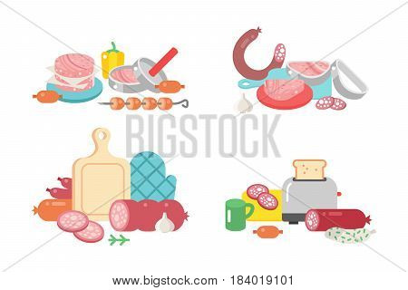 Meat products ingredient and rustic elements preparation equipment food flat vector illustration. Homemade sausage rustic space cutlet burger steak raw cooking beef.