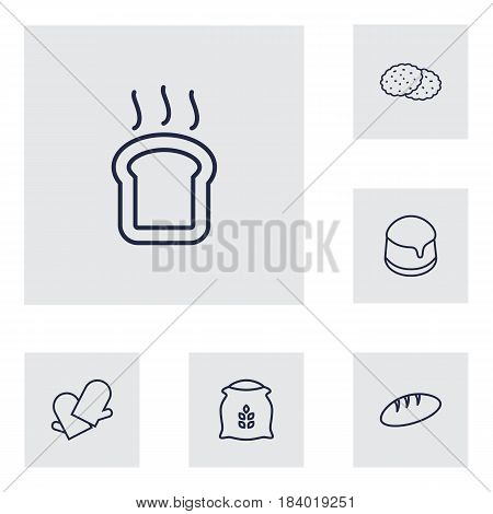 Set Of 6 Bakery Outline Icons Set.Collection Of Flour, Bread, Toast And Other Elements.
