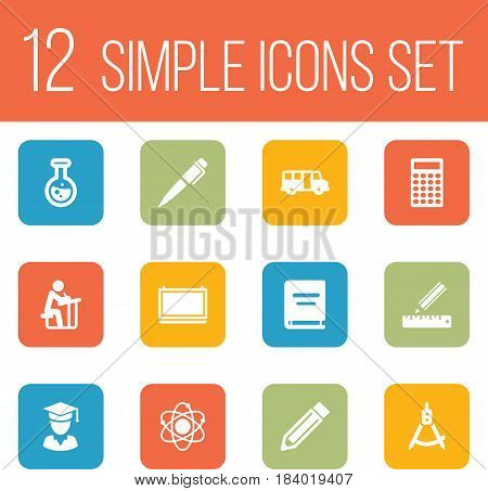 Set Of 12 Studies Icons Set.Collection Of School Autobus, Pencil, Flask And Other Elements.