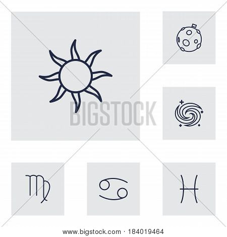 Set Of 6 Horoscope Outline Icons Set.Collection Of Cancer, Moon, Pisces And Other Elements.