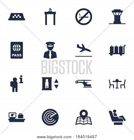 Set Of 16 Aircraft Icons Set.Collection Of Air Traffic Controller, Data, Vip And Other Elements.