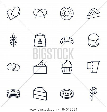 Set Of 16 Oven Outline Icons Set.Collection Of Measuring Cup, Apple Pie, Gloves And Other Elements.