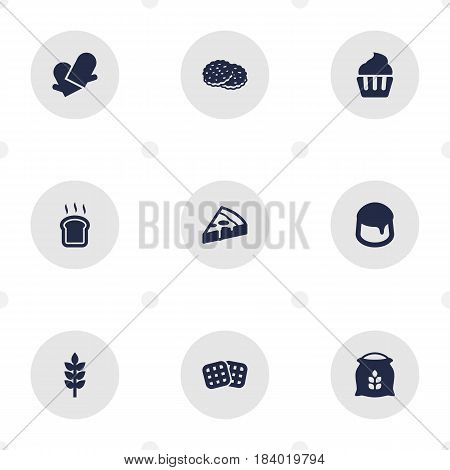 Set Of 9  Icons Set.Collection Of Pepperoni, Custard, Slice Bread And Other Elements.
