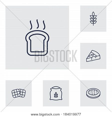 Set Of 6  Outline Icons Set.Collection Of Waffle, Pizza, Wheat And Other Elements.