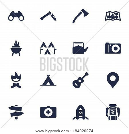Set Of 16 Outdoor Icons Set.Collection Of Backpack, Wood Axe, Jackknife And Other Elements.