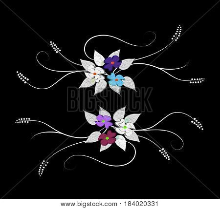 Emotive background on a black background with flowers