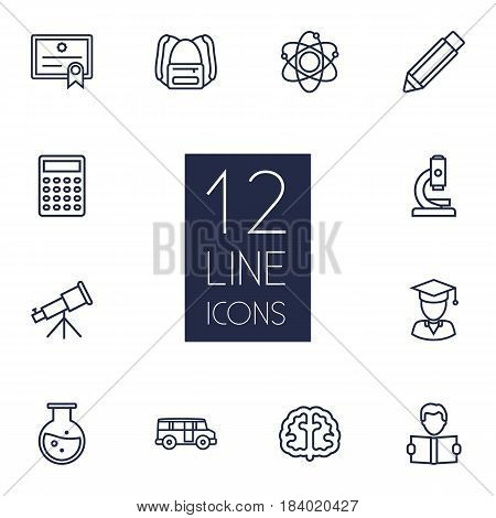 Set Of 12 Education Outline Icons Set.Collection Of Pencil, Microscope, Learning And Other Elements.