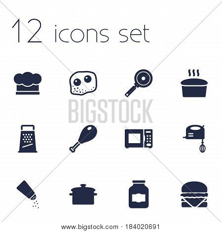 Set Of 12 Culinary Icons Set.Collection Of Sandwich, Saucepan, Chef Cap Elements.