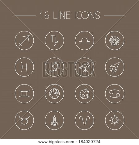 Set Of 16 Astronomy Outline Icons Set.Collection Of Taurus, Sagittarius, Sun And Other Elements.