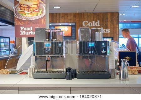 COPENHAGEN, DENMARK  - CIRCA SEPTEMBER, 2014: coffee machines at  FoodMarket in Copenhagen Airport, Kastrup.
