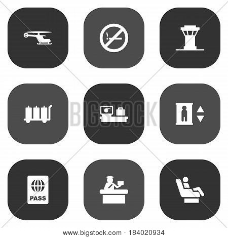 Set Of 9 Land Icons Set.Collection Of Lift, Passport, Forbidden And Other Elements.